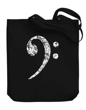 Bass Clef worn style Canvas Tote Bag