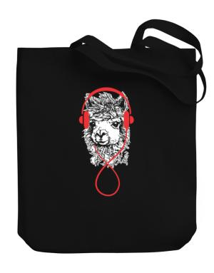 Llama with headphones Canvas Tote Bag