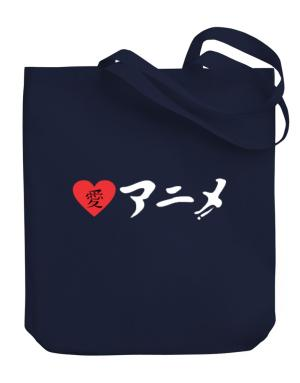 I Love Anime in Japanese Ladies Canvas Tote Bag
