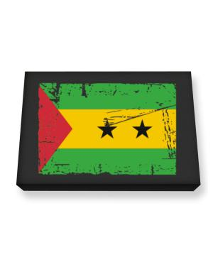 """ Sao Tome And Principe - Vintage Flag "" Canvas square"