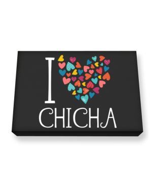 I love Chicha colorful hearts Canvas square