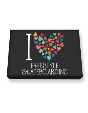 I love Freestyle Skateboarding colorful hearts Canvas square