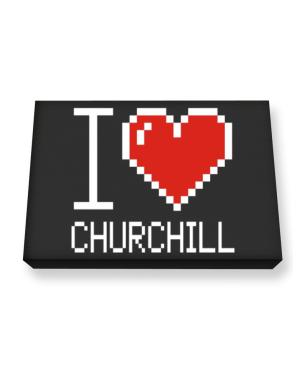 I love Churchill pixelated Canvas square
