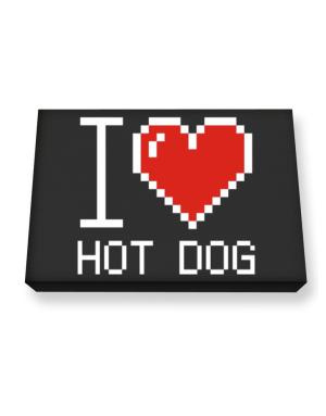 I love Hot Dog pixelated Canvas square