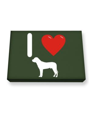 I love Mountain Cur Silhouette Canvas square