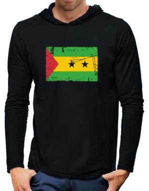 """ Sao Tome And Principe - Vintage Flag "" Hooded Long Sleeve T-Shirt-Mens"