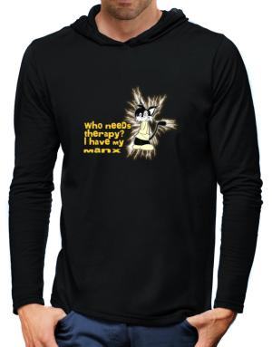 Who Needs Therapy? I Have My Manx Hooded Long Sleeve T-Shirt-Mens