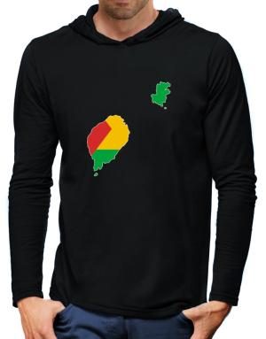 Sao Tome And Principe - Country Map Color Simple Hooded Long Sleeve T-Shirt-Mens