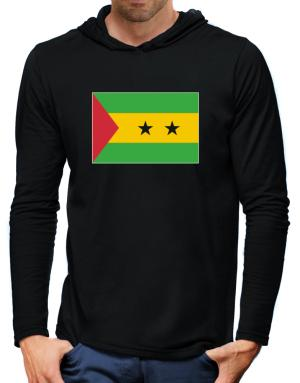 Sao Tome And Principe Flag Hooded Long Sleeve T-Shirt-Mens