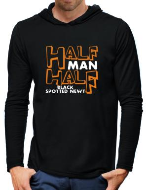 Half Man , Half Black Spotted Newt Hooded Long Sleeve T-Shirt-Mens
