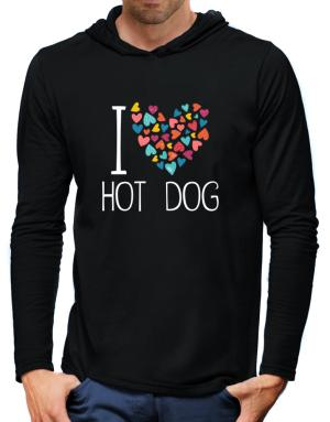 I love Hot Dog colorful hearts Hooded Long Sleeve T-Shirt-Mens