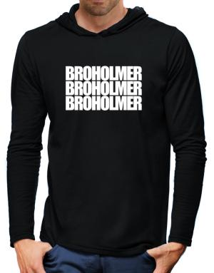 Broholmer three words Hooded Long Sleeve T-Shirt-Mens