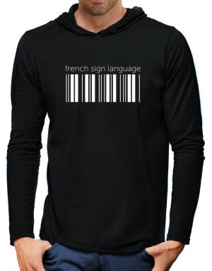 French Sign Language barcode Hooded Long Sleeve T-Shirt-Mens
