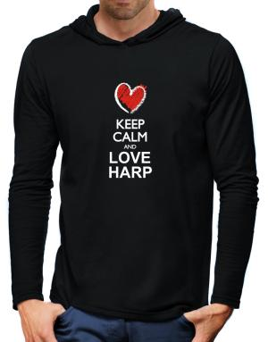 Keep calm and love Harp chalk style Hooded Long Sleeve T-Shirt-Mens