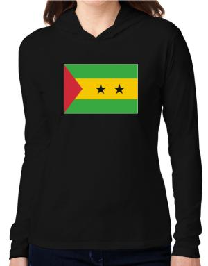 Sao Tome And Principe Flag Hooded Long Sleeve T-Shirt Women