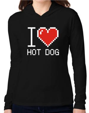 I love Hot Dog pixelated Hooded Long Sleeve T-Shirt Women