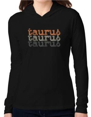 Taurus repeat retro Hooded Long Sleeve T-Shirt Women