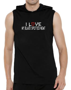 I Love My Black Spotted Newt Hooded Sleeveless T-Shirt - Mens