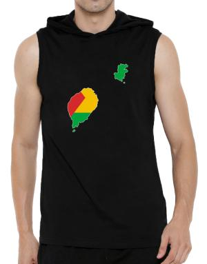 Sao Tome And Principe - Country Map Color Simple Hooded Sleeveless T-Shirt - Mens