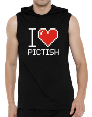 I love Pictish pixelated Hooded Sleeveless T-Shirt - Mens