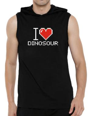 I love Dinosour pixelated Hooded Sleeveless T-Shirt - Mens