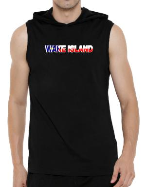 Wake Island country flag Hooded Sleeveless T-Shirt - Mens