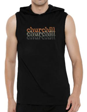 Churchill repeat retro Hooded Sleeveless T-Shirt - Mens