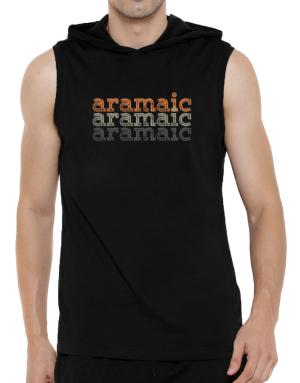 Aramaic repeat retro Hooded Sleeveless T-Shirt - Mens