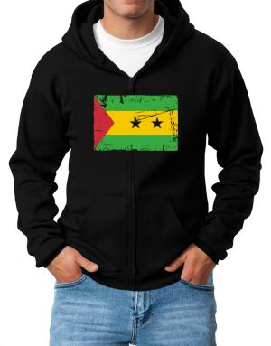 """ Sao Tome And Principe - Vintage Flag "" Zip Hoodie - Mens"