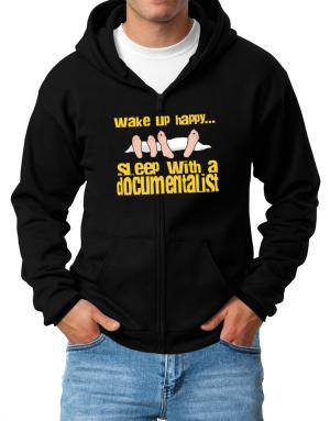 wake up happy .. sleep with a Documentalist Zip Hoodie - Mens