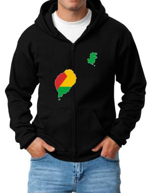 Sao Tome And Principe - Country Map Color Simple Zip Hoodie - Mens