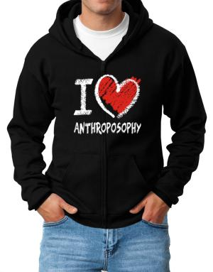 I love Anthroposophy chalk style Zip Hoodie - Mens