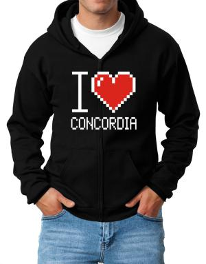 I love Concordia pixelated Zip Hoodie - Mens