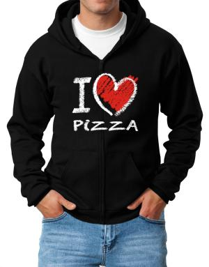 I love Pizza chalk style Zip Hoodie - Mens