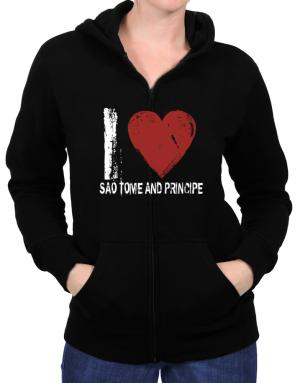 I Love Sao Tome And Principe - Vintage Zip Hoodie - Womens