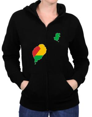 Sao Tome And Principe - Country Map Color Simple Zip Hoodie - Womens