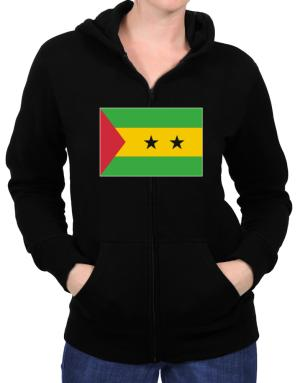 Sao Tome And Principe Flag Zip Hoodie - Womens