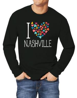 Playeras Manga Larga de I love Nashville colorful hearts