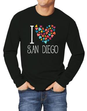 Playeras Manga Larga de I love San Diego colorful hearts
