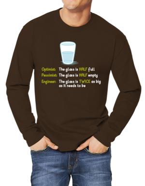 Optimist pessimist engineer glass problem Long-sleeve T-Shirt