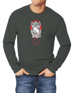 Llama with headphones Long-sleeve T-Shirt