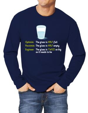 Polo Manga Larga de Optimist pessimist engineer glass problem