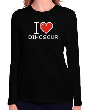 I love Dinosour pixelated Long Sleeve T-Shirt-Womens