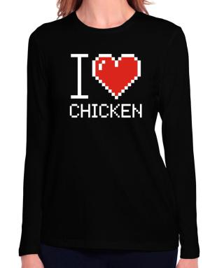 I love Chicken pixelated Long Sleeve T-Shirt-Womens