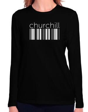 Churchill barcode Long Sleeve T-Shirt-Womens