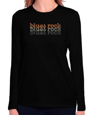 Blues Rock repeat retro Long Sleeve T-Shirt-Womens
