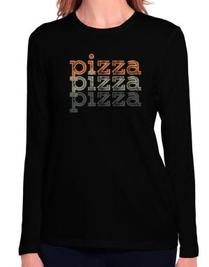 Pizza repeat retro Long Sleeve T-Shirt-Womens