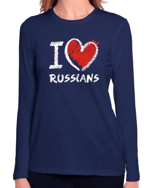 I love Russians chalk style Long Sleeve T-Shirt-Womens