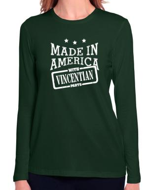 Made in America with Vincentian parts Long Sleeve T-Shirt-Womens