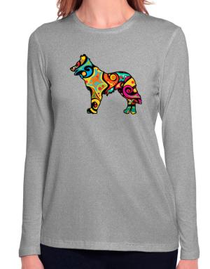 Psychedelic Northern Inuit Dog Long Sleeve T-Shirt-Womens